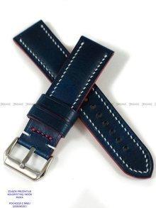Pasek skórzany ręcznie robiony A. Kucharski Leather - Conceria Walpier Buttero - blue/white 24 mm