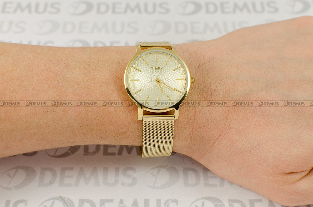 timex zegarek damski timex metropolitan złoty mesh 30m