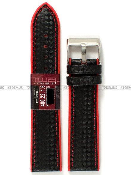 Pasek silikonowo-karbonowy do zegarka - Diloy 400.22.1.6 - 22 mm