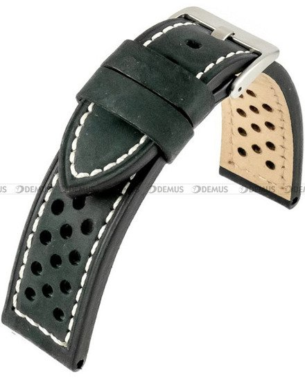 Pasek skórzany do zegarka - Horido 9618.01.24S - biała nić - 24 mm