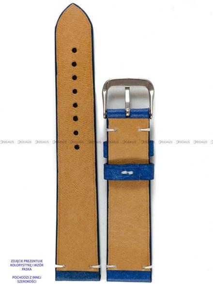 Pasek skórzany ręcznie robiony A. Kucharski Leather - Conceria Il Ponte Maya Simple - blue/white 24 mm
