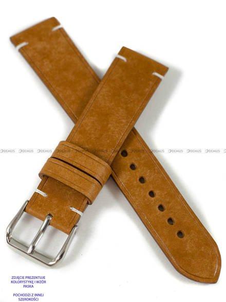 Pasek skórzany ręcznie robiony A. Kucharski Leather - Conceria Il Ponte Maya Simple - cognac/white 18 mm