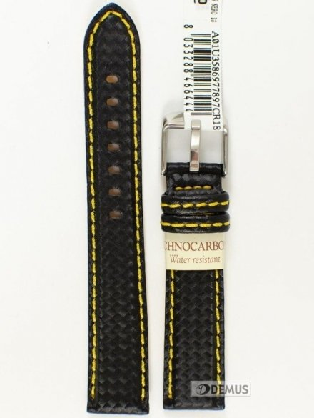 Pasek wodoodporny karbonowy do zegarka - Morellato A01U3586977897 18mm