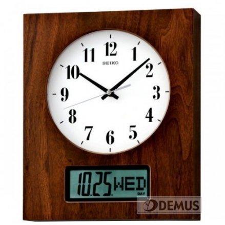 Zegar ścienny analogowo-cyfrowy Seiko QXL009B