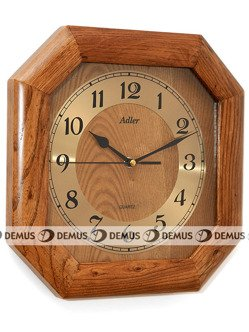 Zegar ścienny drewniany ośmiokątny złoty cyferblat czarne wskazówki 21148-CD