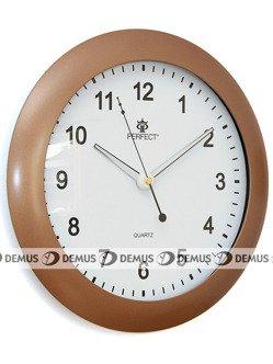 Zegar ścienny plastikowy jasnobrązowa obudowa biała tarcza PW171-1730-4